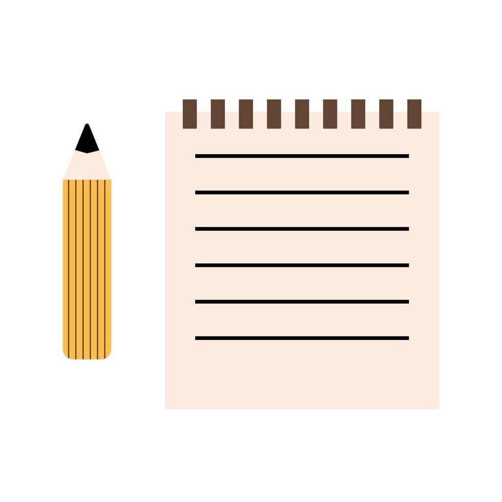 matita di grafite e quaderno di carta a righe, materiale scolastico, cancelleria, icona di vettore in stile piano su uno sfondo bianco.