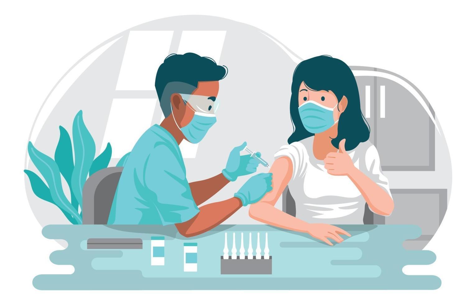 paziente donna durante l'iniezione di vaccino contro il coronavirus vettore