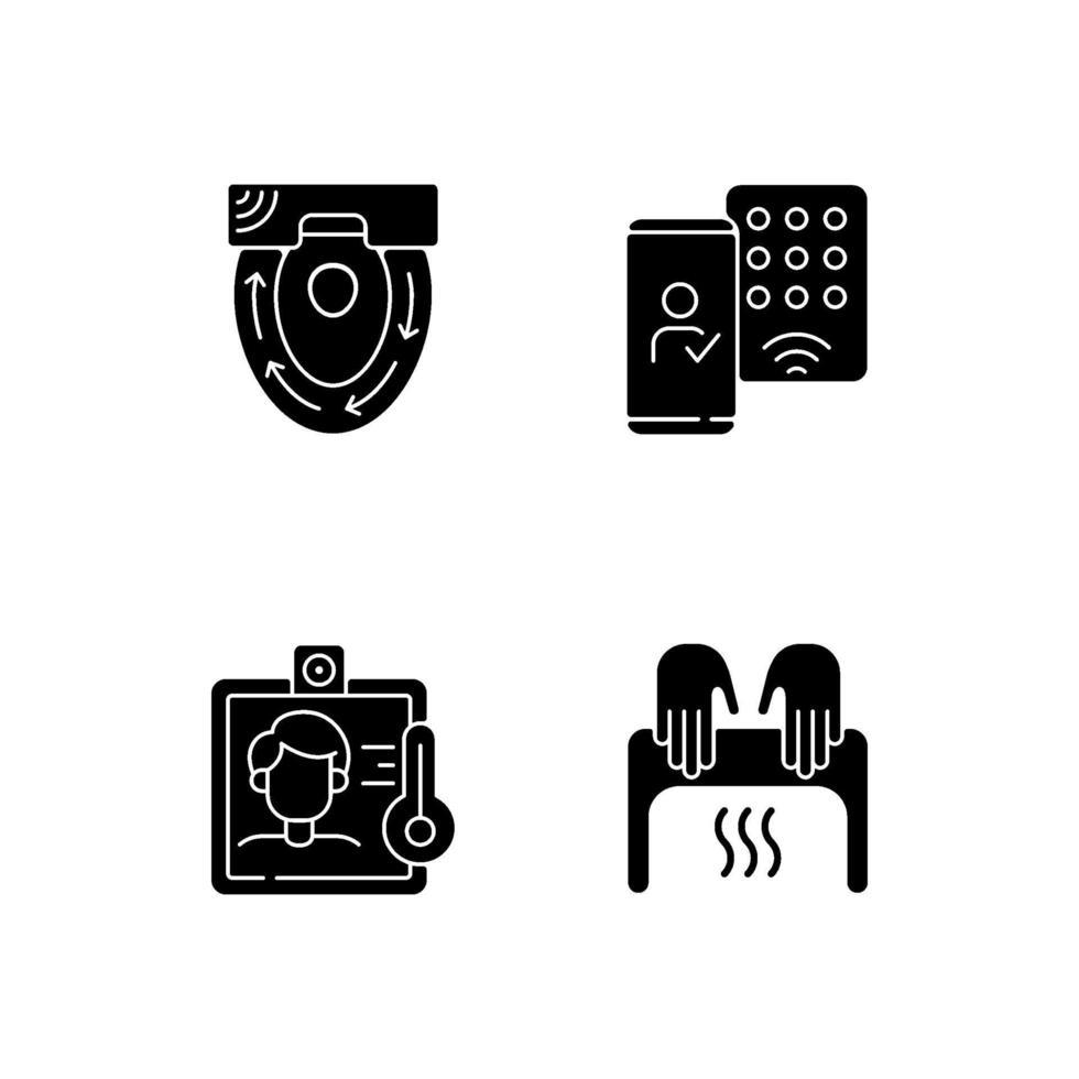 tecnologia contactless nero glifo icone impostate su uno spazio bianco vettore