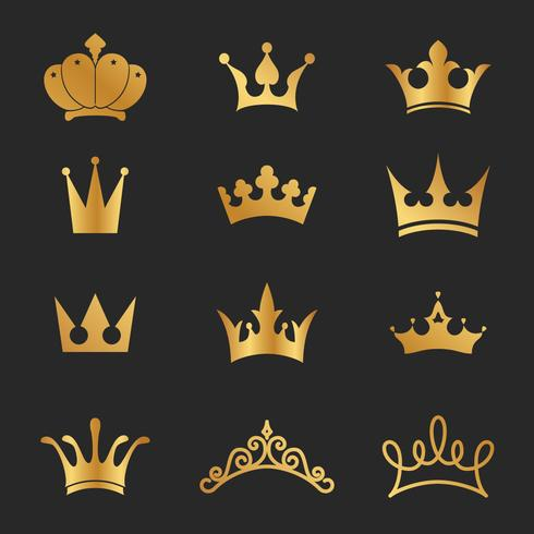 12 diverse corone icona elementi di design vettore
