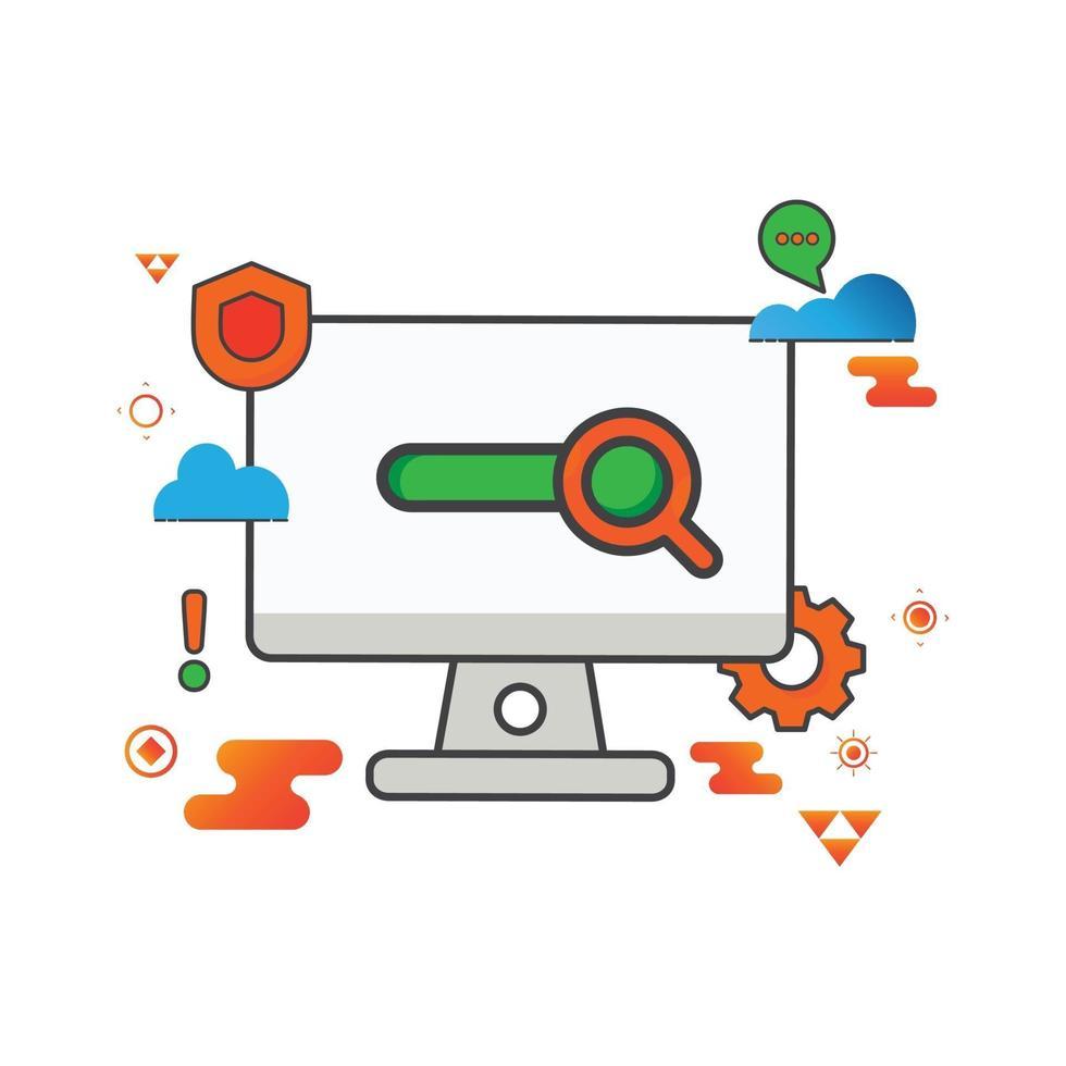 illustrazione di ricerca. illustrazione del computer. icona di vettore piatto. può utilizzare per, elemento di design dell'icona, interfaccia utente, web, app mobile.