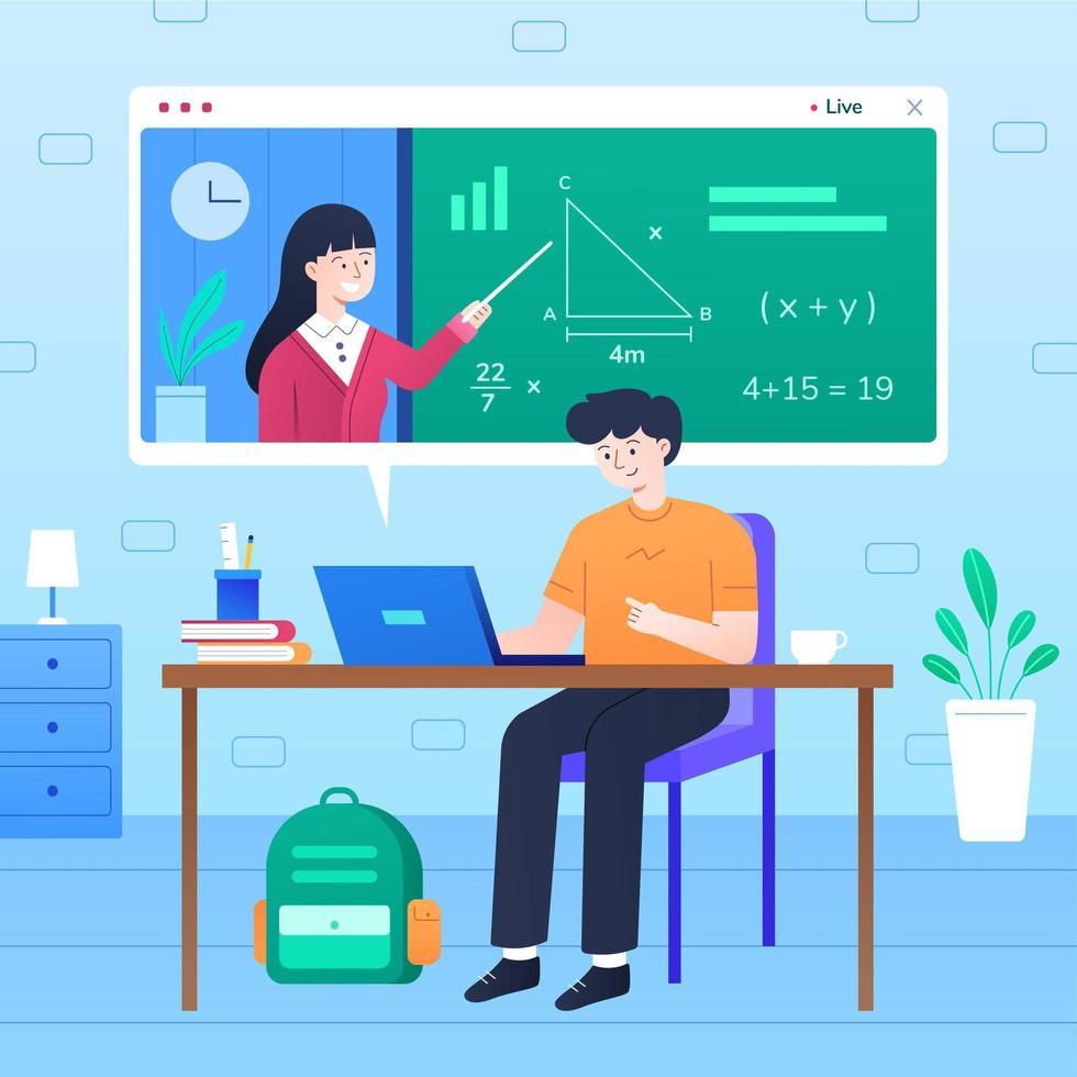 nuovo normale concetto di educazione online vettore