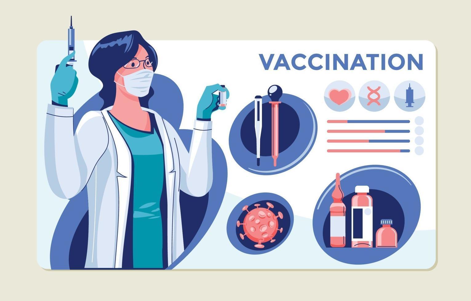 elementi infographic di concetto di vaccinazione vettore