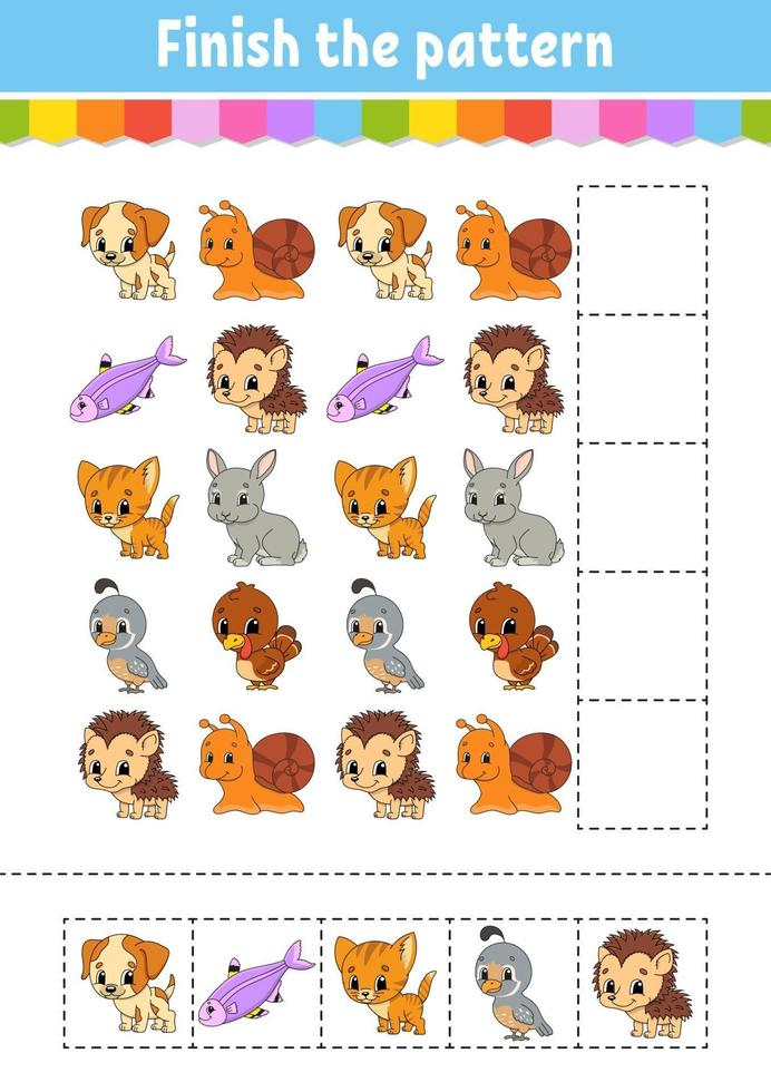 finire il modello. taglia e gioca. foglio di lavoro per lo sviluppo dell'istruzione. pagina delle attività. personaggio dei cartoni animati. vettore