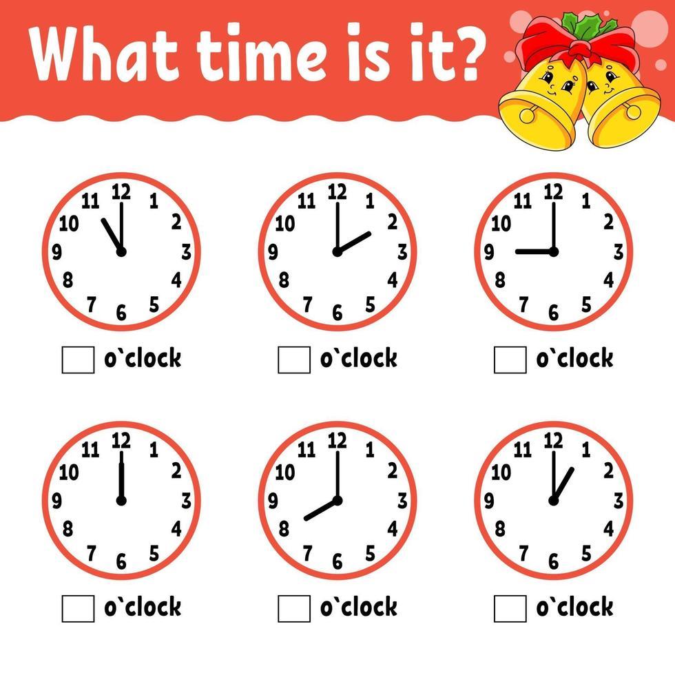 tempo di apprendimento sull'orologio. tema invernale. foglio di lavoro per attività educative per bambini e neonati. gioco per bambini. illustrazione di vettore di colore isolato piatto semplice in stile cartone animato carino.