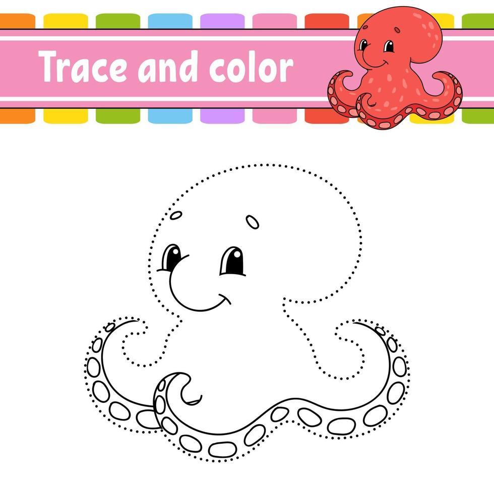 punto per punto gioco polpo. disegna una linea. per bambini. foglio di lavoro delle attività. libro da colorare. con risposta. personaggio dei cartoni animati. illustrazione vettoriale. vettore