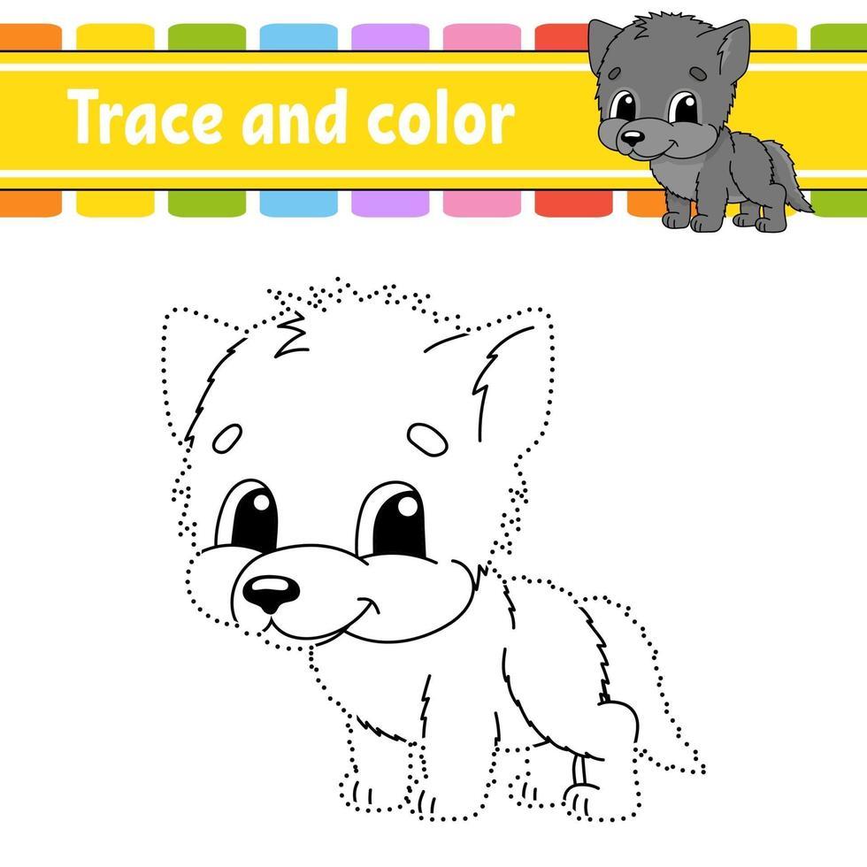 punto per punto gioco lupo. disegna una linea. per bambini. foglio di lavoro delle attività. libro da colorare. con risposta. personaggio dei cartoni animati. illustrazione vettoriale. vettore