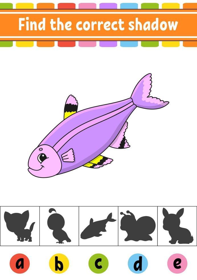 trova il pesce ombra corretto. foglio di lavoro per lo sviluppo dell'istruzione. pagina delle attività. gioco di colori per bambini. illustrazione vettoriale isolato. personaggio dei cartoni animati.