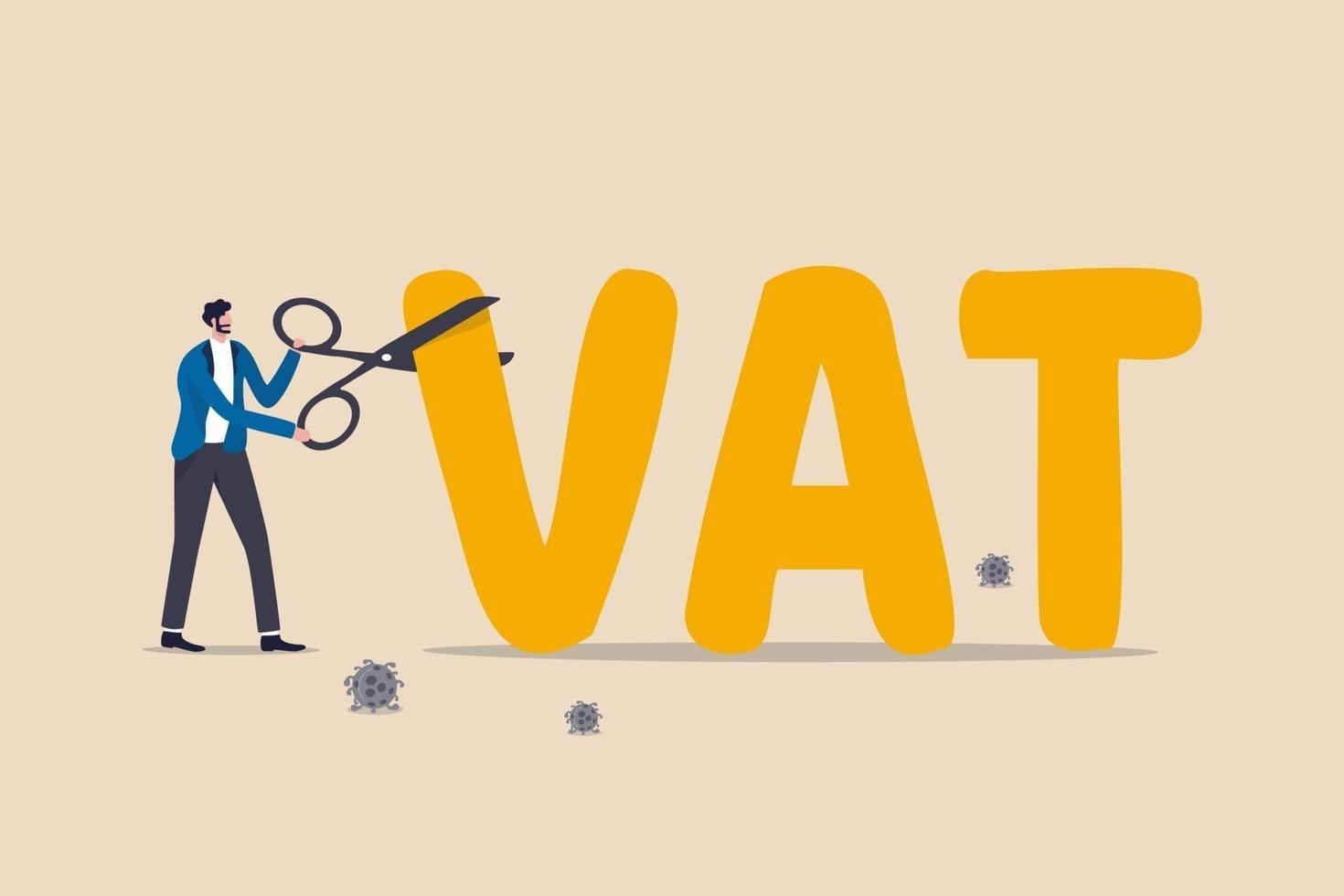 politica monetaria del governo per tagliare l'IVA o ridurre l'aliquota fiscale per aiutare la ripresa economica dopo la pandemia di coronavirus covid-19, governo, banca centrale e governo che usano le forbici per tagliare o abbassare l'aliquota IVA. vettore