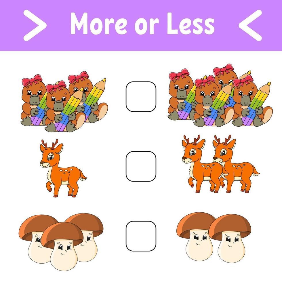 più o meno. foglio di lavoro per attività educative per bambini e neonati. illustrazione vettoriale di colore isolato in stile cartone animato carino.