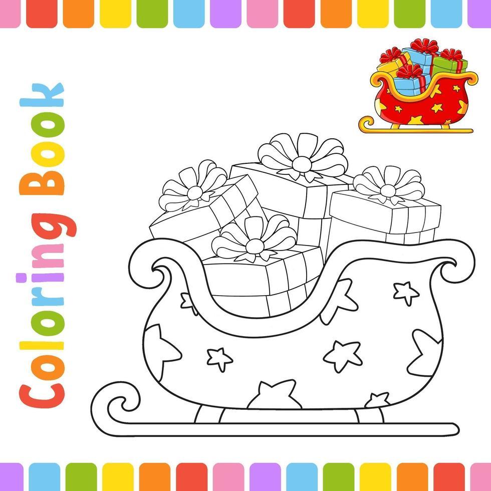 libro da colorare per bambini slitta. tema invernale. carattere allegro. illustrazione vettoriale. stile cartone animato carino. pagina fantasy per bambini. sagoma contorno nero. isolato su sfondo bianco. vettore