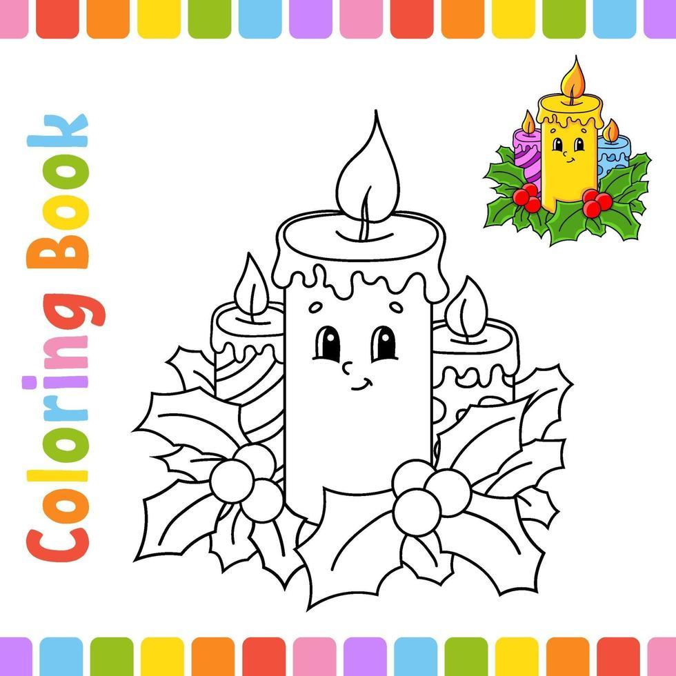 libro da colorare per bambini candela. tema invernale. carattere allegro. illustrazione vettoriale. stile cartone animato carino. pagina fantasy per bambini. sagoma contorno nero. isolato su sfondo bianco. vettore