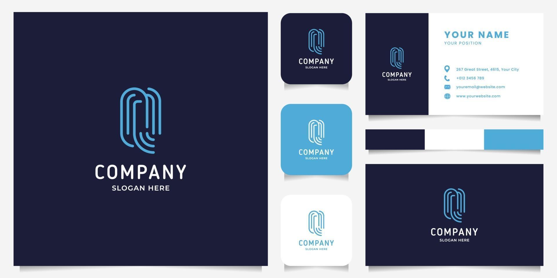 logo della lettera q di arte linea semplice e minimalista con modello di biglietto da visita vettore
