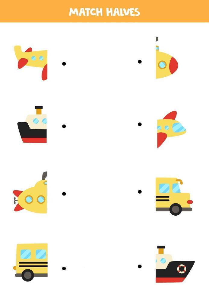 abbinare parti del trasporto dei cartoni animati. gioco logico per bambini. vettore