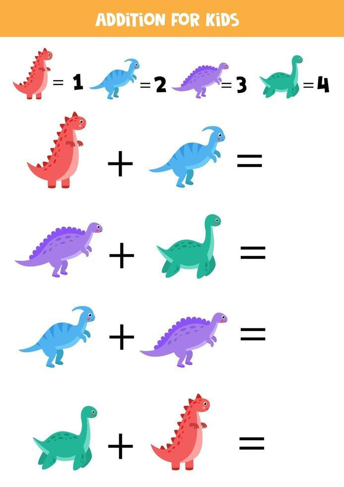 aggiunta per bambini con dinosauri simpatici cartoni animati. vettore