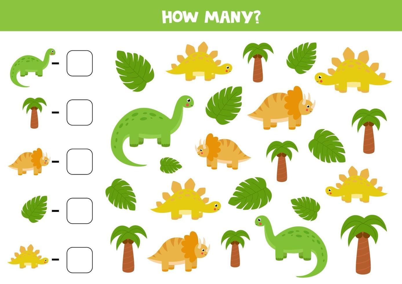 conta tutti i dinosauri e scrivi la risposta giusta nella casella. gioco di matematica per bambini. vettore