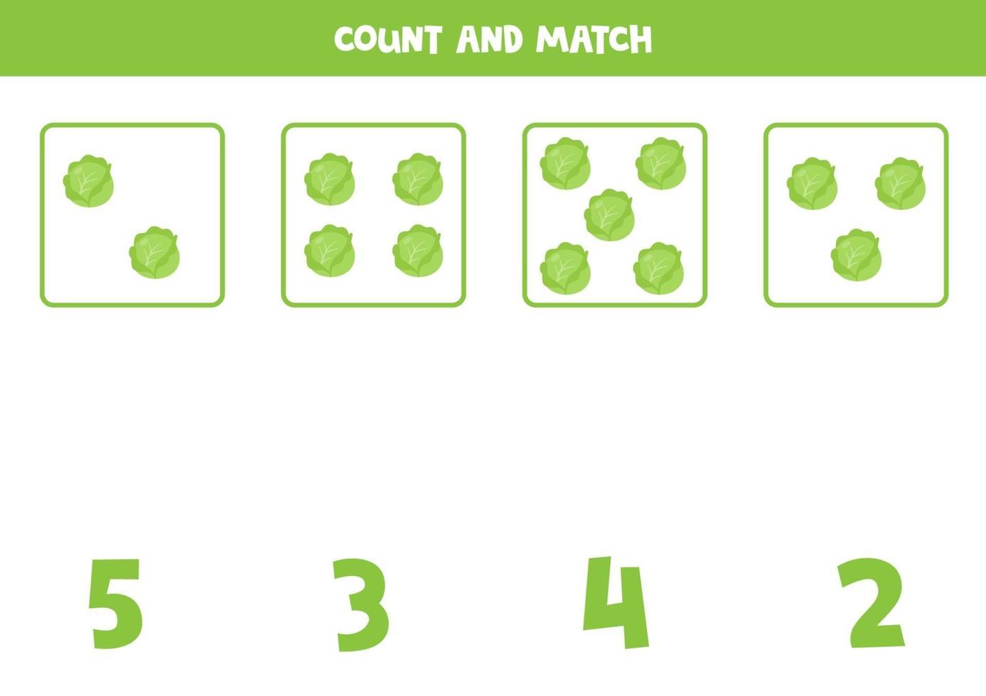 conteggio del gioco per bambini. gioco di matematica con cavoli dei cartoni animati. vettore
