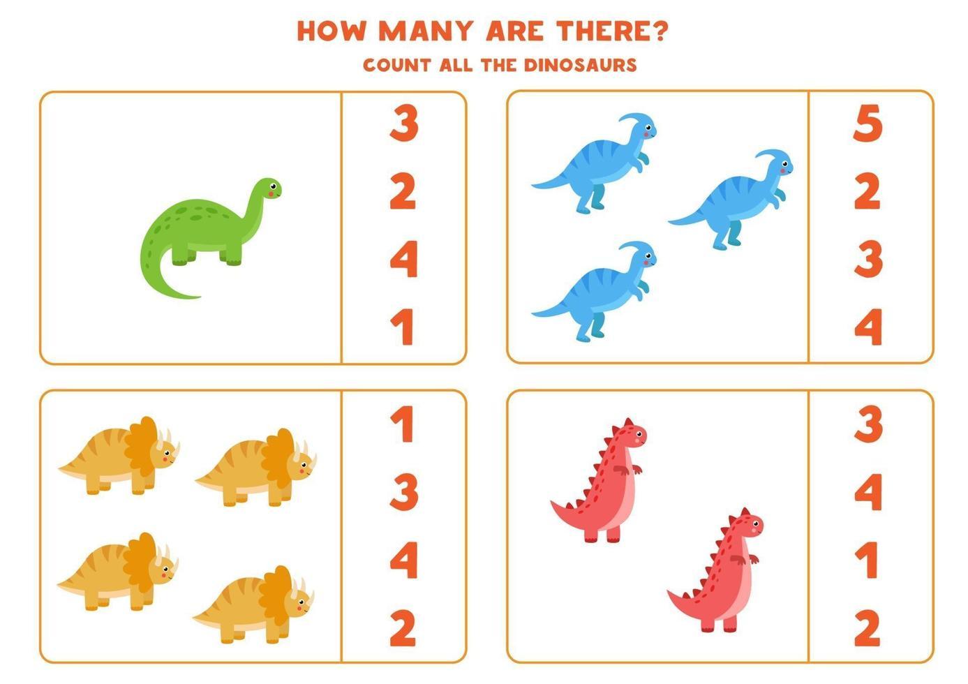 conteggio del gioco per bambini. gioco di matematica con i dinosauri dei cartoni animati. vettore