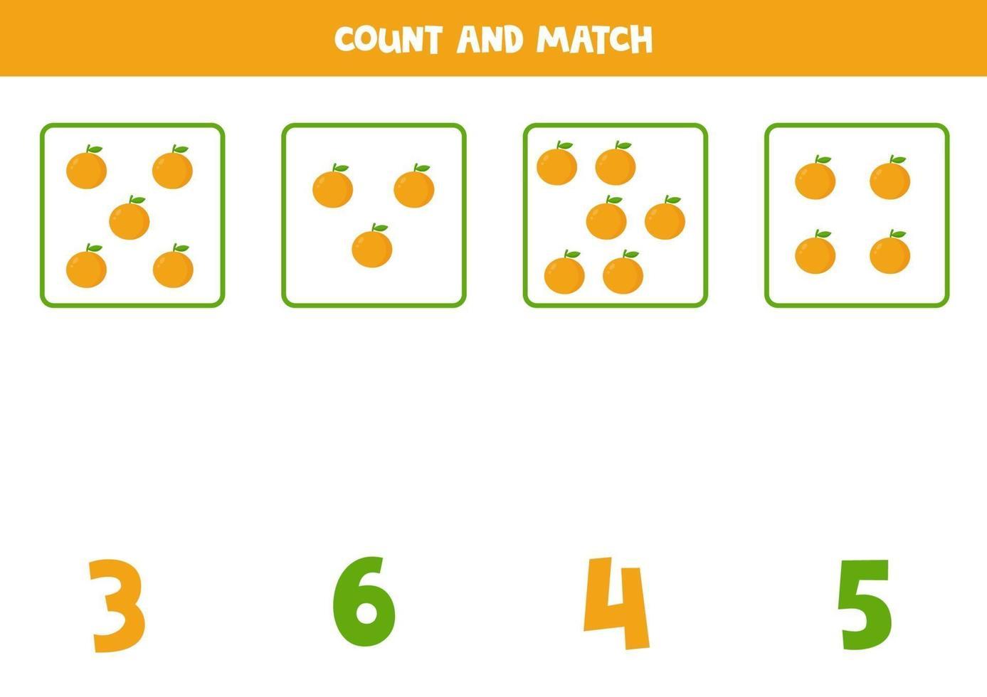 conteggio del gioco per bambini. gioco di matematica con le arance dei cartoni animati. vettore