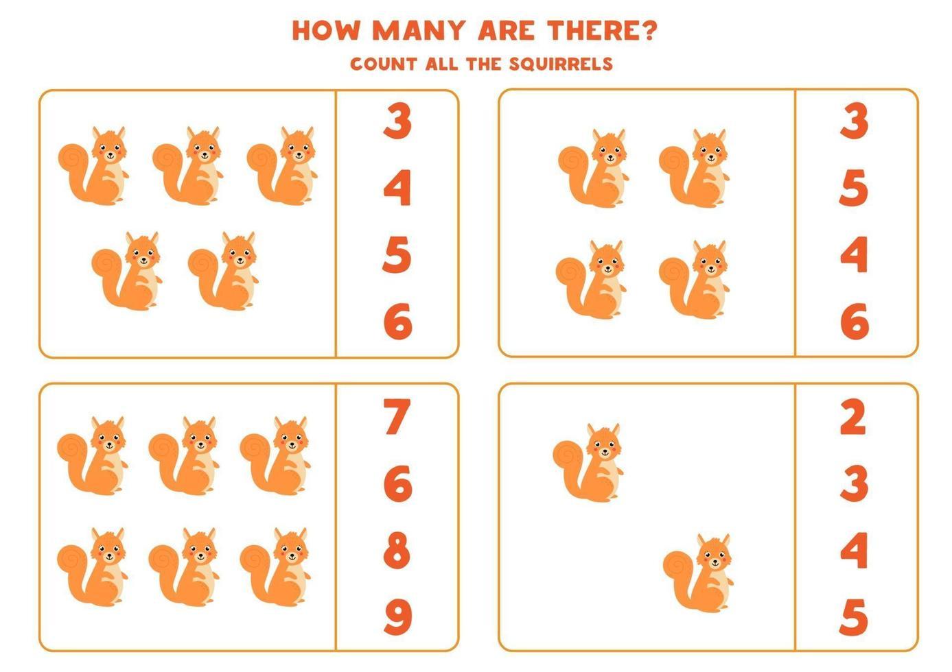 conteggio del gioco di matematica con scoiattoli simpatici cartoni animati. vettore