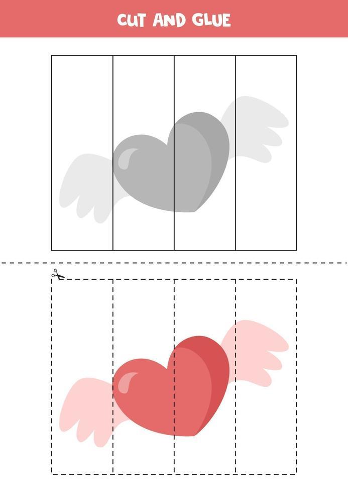 tagliare e incollare gioco per bambini. cuore di San Valentino simpatico cartone animato. vettore