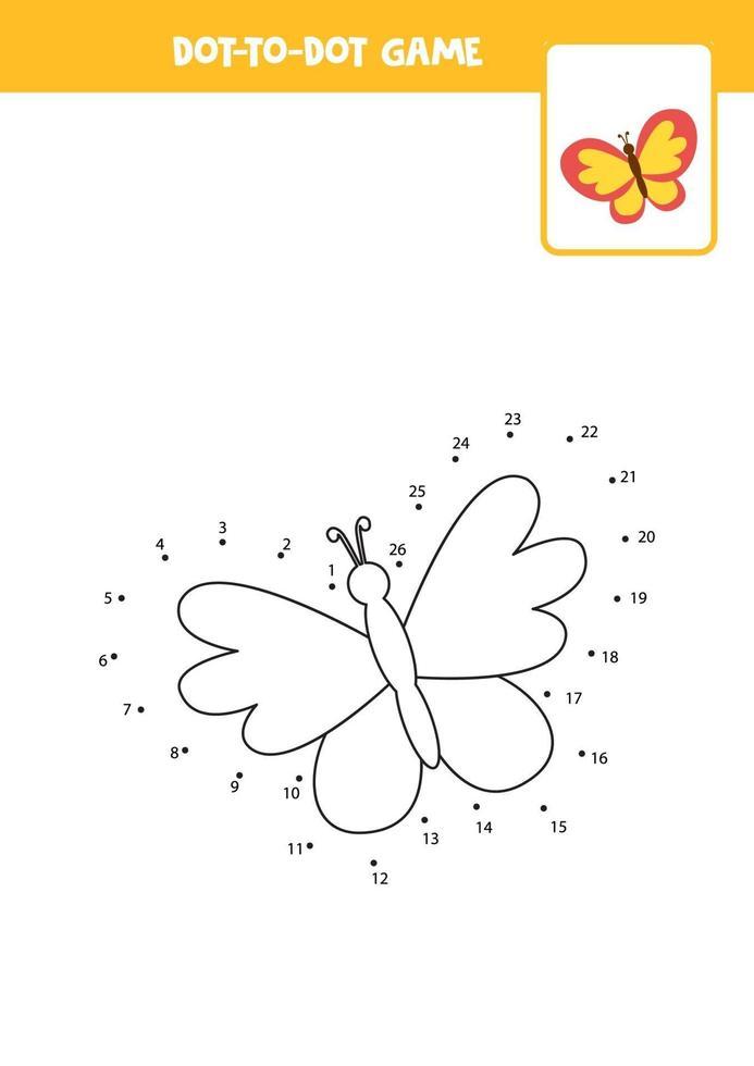 pratica di scrittura a mano per bambini. punto per punto con la farfalla vettore