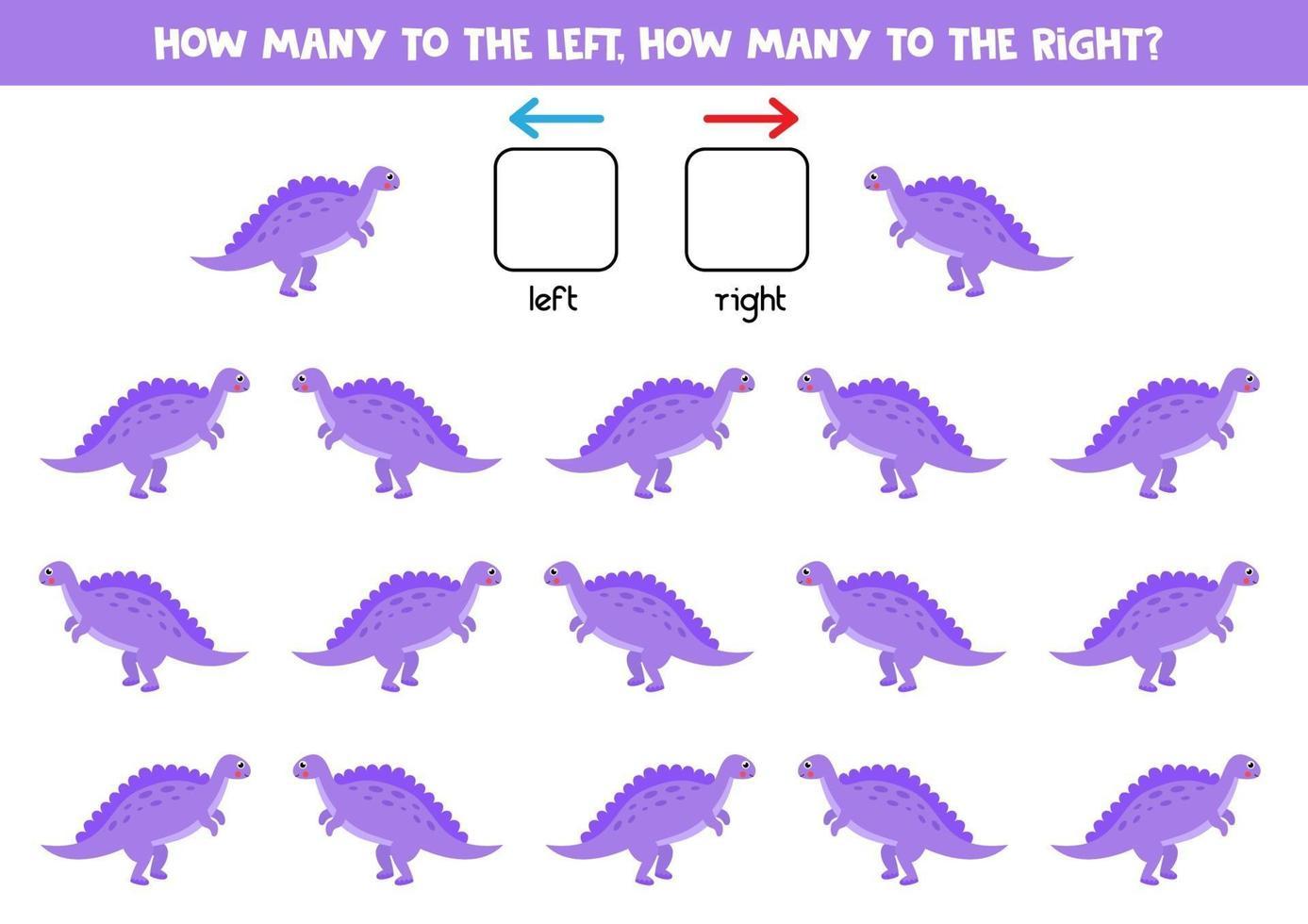 a sinistra oa destra con un simpatico dinosauro viola. foglio di lavoro logico per bambini in età prescolare. vettore