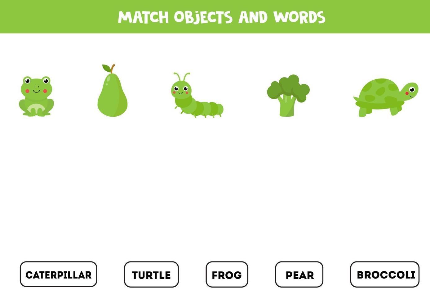 gioco di abbinamento con oggetti verdi colorati. gioco logico. vettore