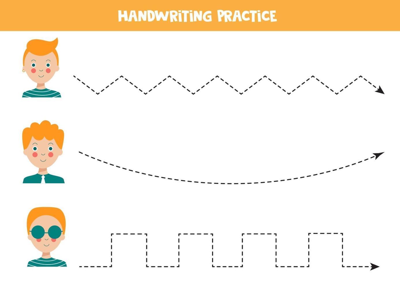 traccia le linee con ragazzi carini. pratica di abilità di scrittura. vettore