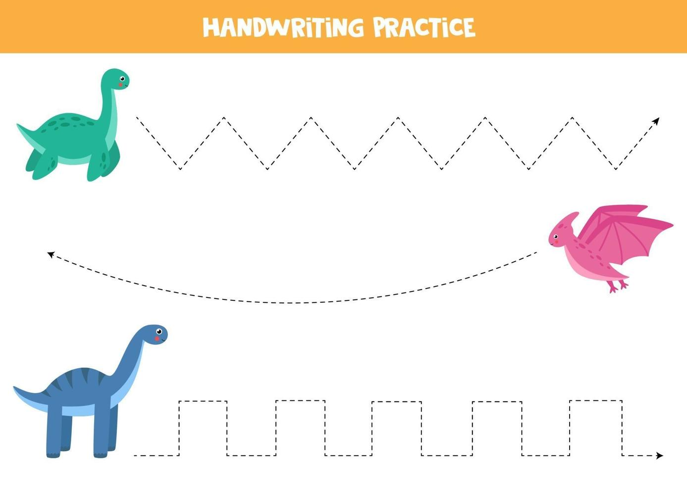 tracciare linee con dinosauri dei cartoni animati. pratica di abilità di scrittura. vettore
