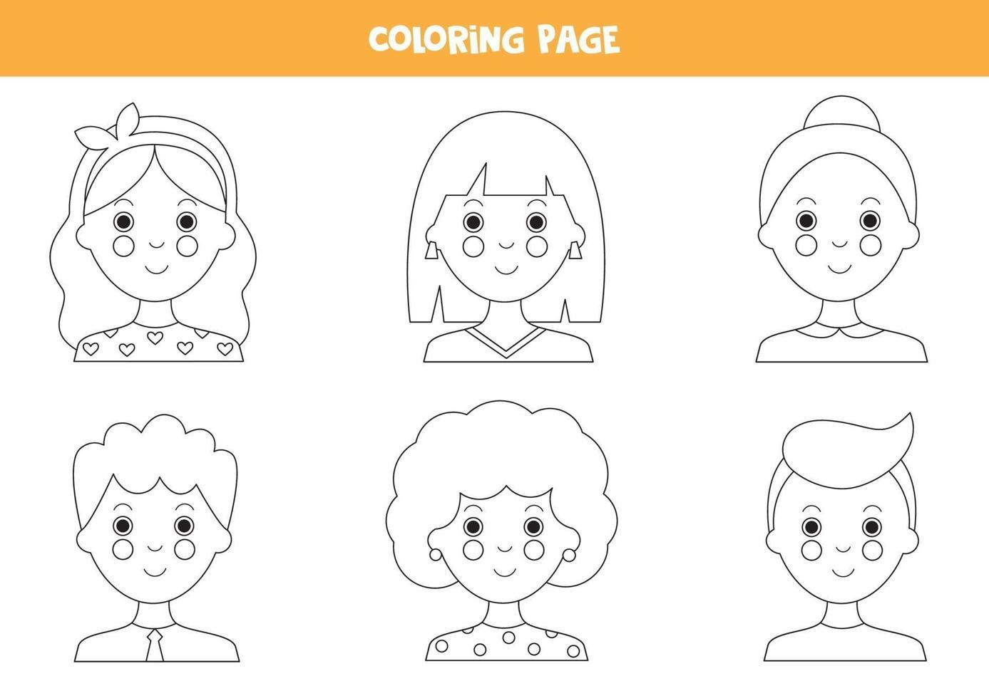 pagina da colorare con avatar di ragazze e ragazzi. vettore