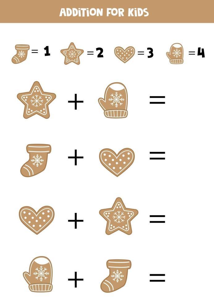 aggiunta con biscotti di panpepato. gioco matematico per bambini. vettore