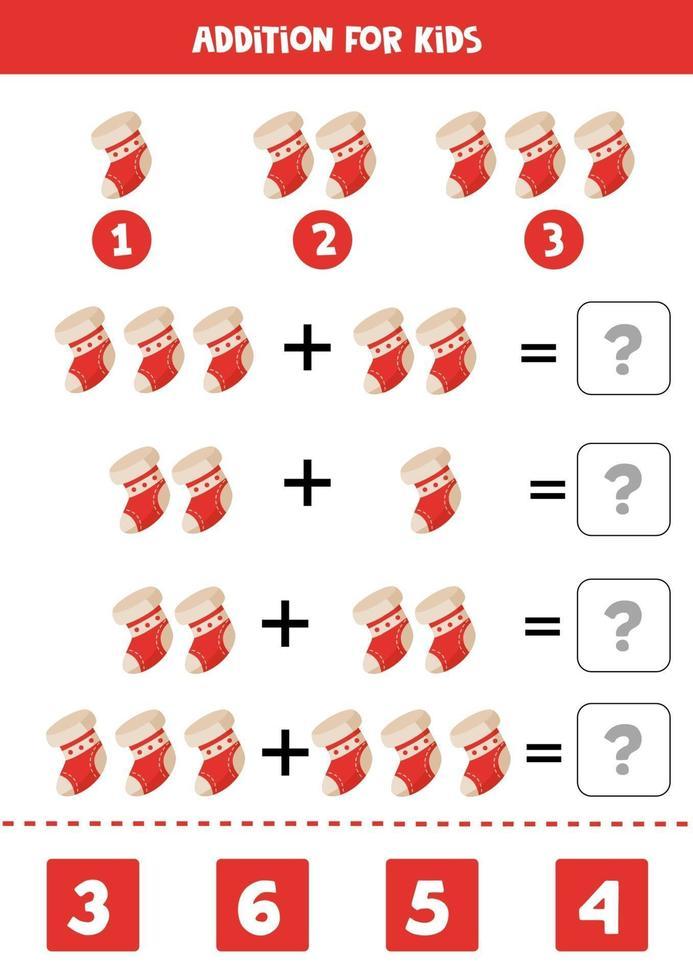 risolvi l'equazione matematica. calzino di Natale dei cartoni animati. vettore
