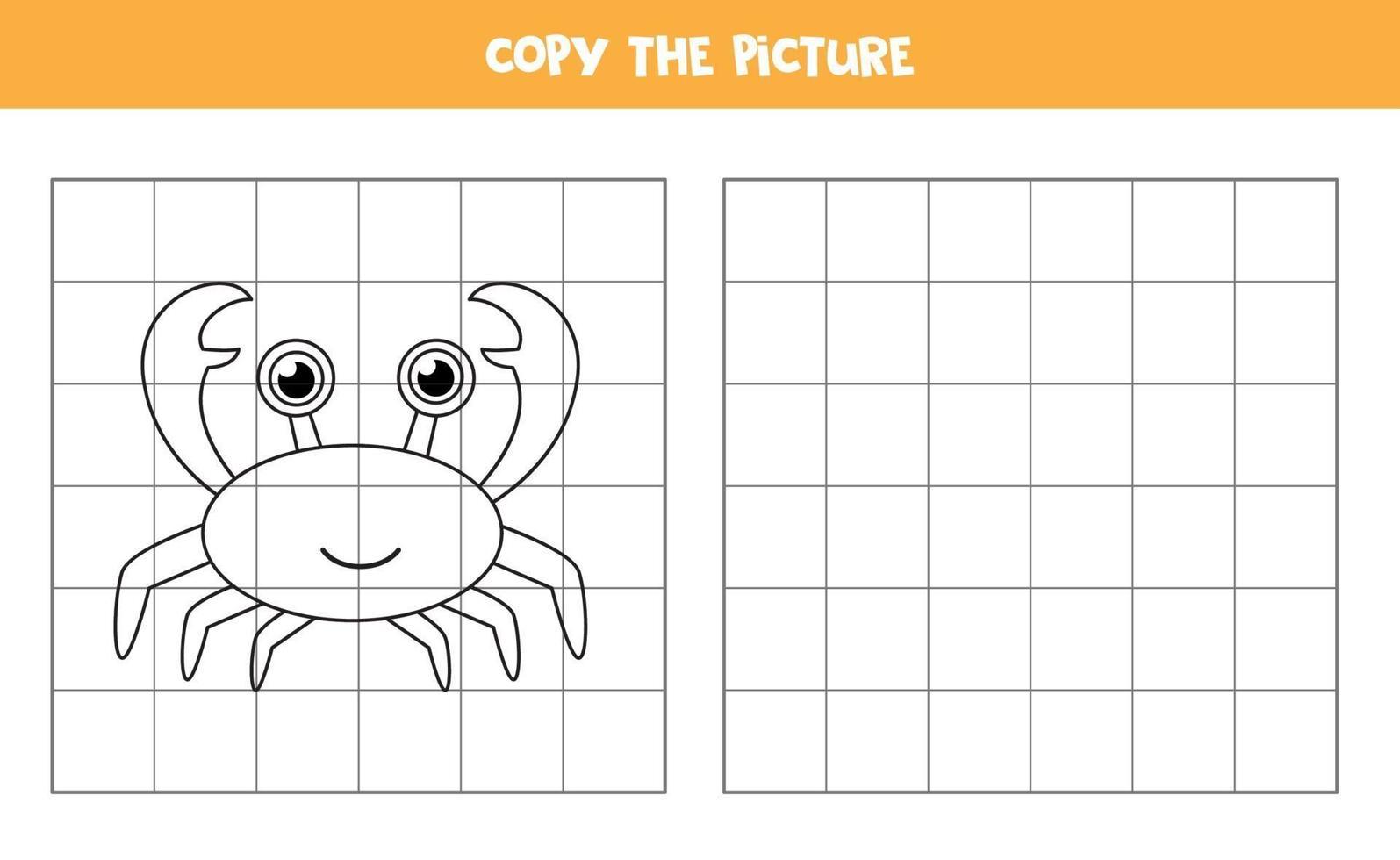 copia l'immagine. granchio simpatico cartone animato. gioco logico per bambini. vettore
