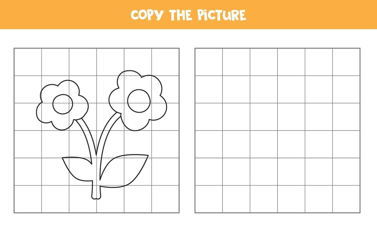 copia l'immagine. fiore di cartone animato. gioco logico per bambini. vettore