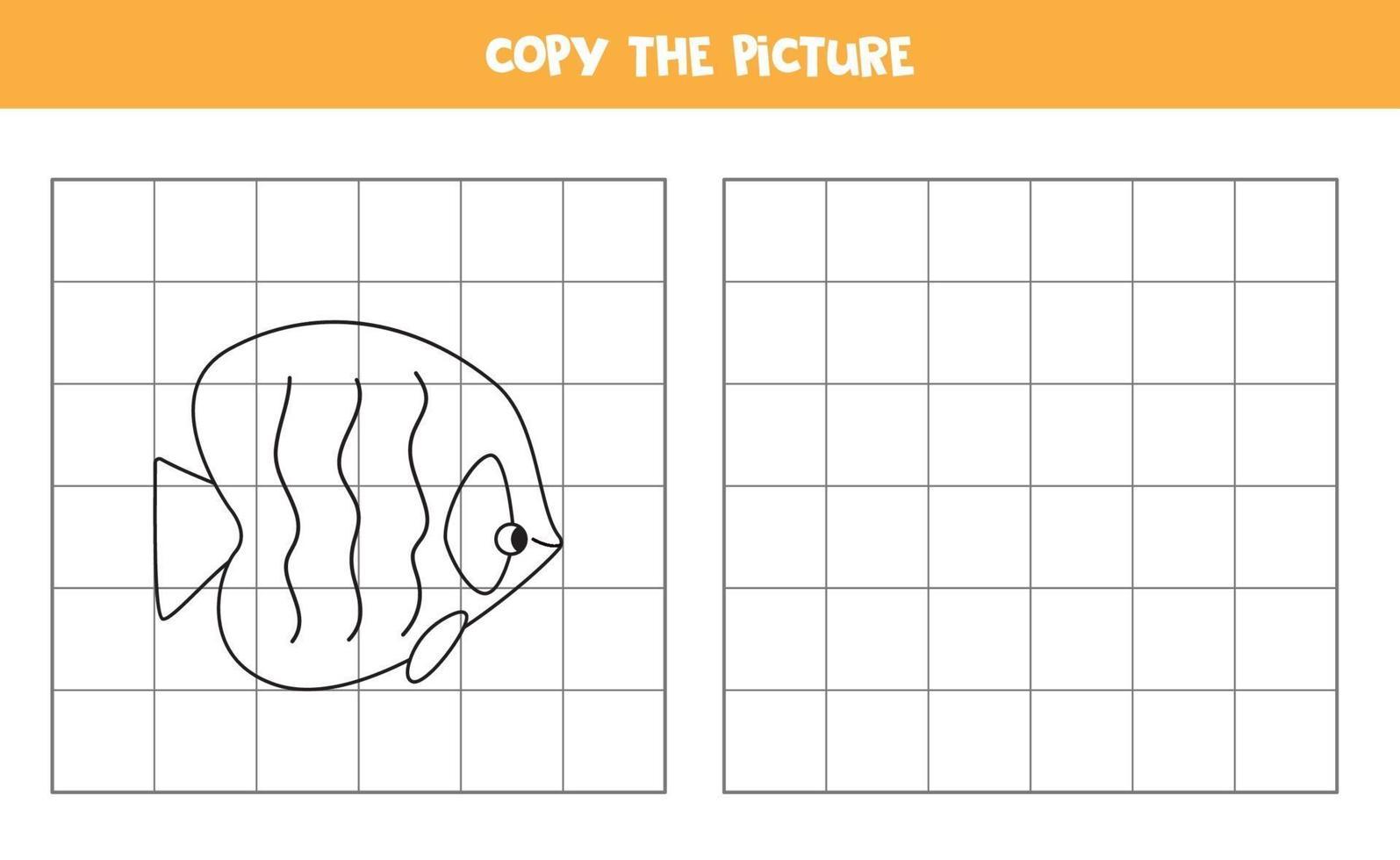 copia l'immagine. pesce cartone animato. gioco logico per bambini. vettore