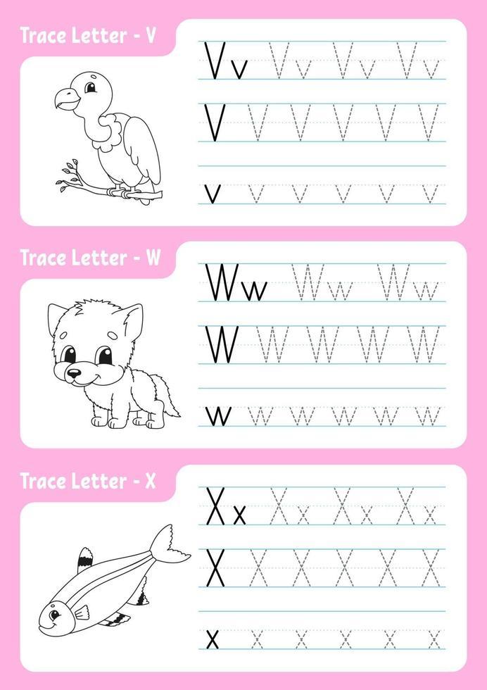 scrivendo le lettere v, w, x. pagina di tracciamento. foglio di lavoro per bambini. foglio di pratica. impara l'alfabeto. simpatici personaggi. illustrazione vettoriale. stile cartone animato. vettore