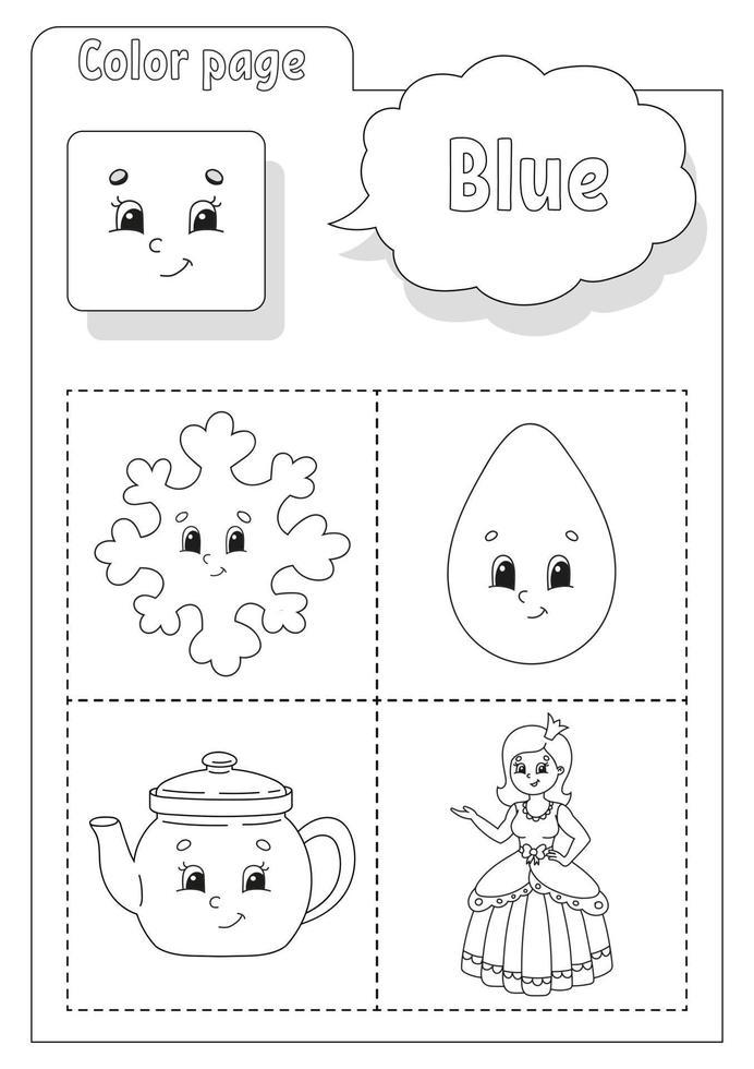 libro da colorare blu. imparare i colori. flashcard per bambini. personaggi dei cartoni animati. set di immagini per bambini in età prescolare. foglio di lavoro per l'istruzione. illustrazione vettoriale. vettore