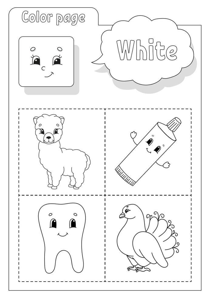 libro da colorare bianco. imparare i colori. flashcard per bambini. personaggi dei cartoni animati. set di immagini per bambini in età prescolare. foglio di lavoro per l'istruzione. illustrazione vettoriale. vettore