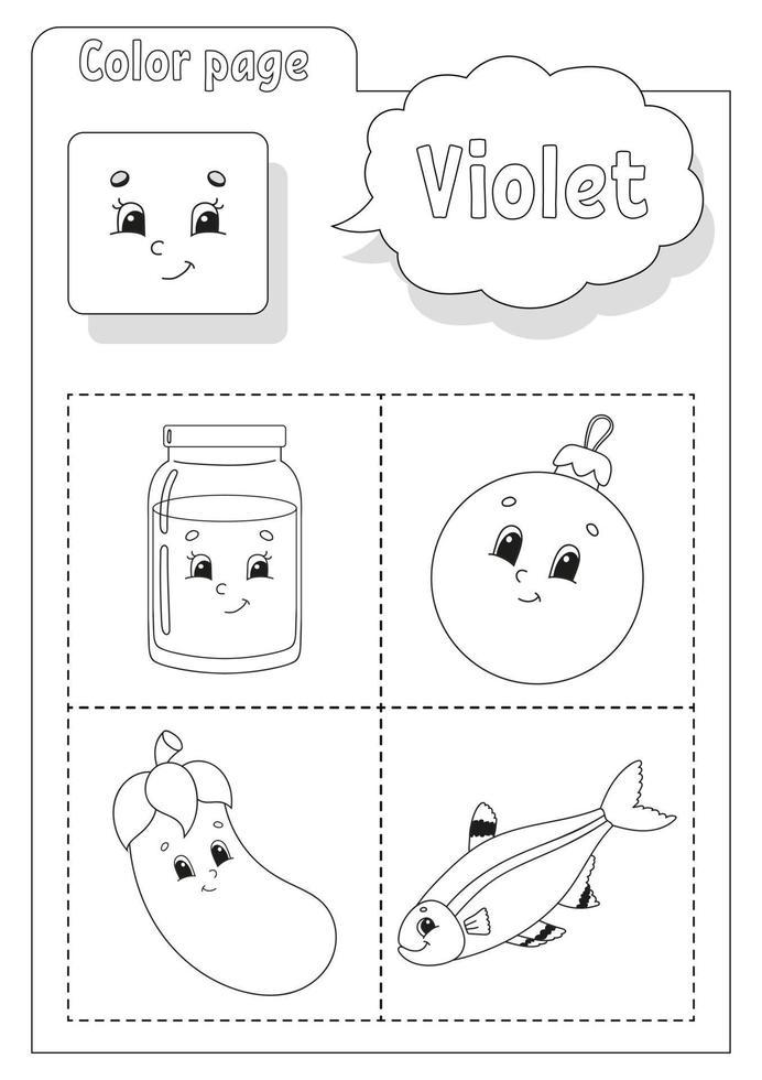 libro da colorare viola. imparare i colori. flashcard per bambini. personaggi dei cartoni animati. set di immagini per bambini in età prescolare. foglio di lavoro per l'istruzione. illustrazione vettoriale. vettore