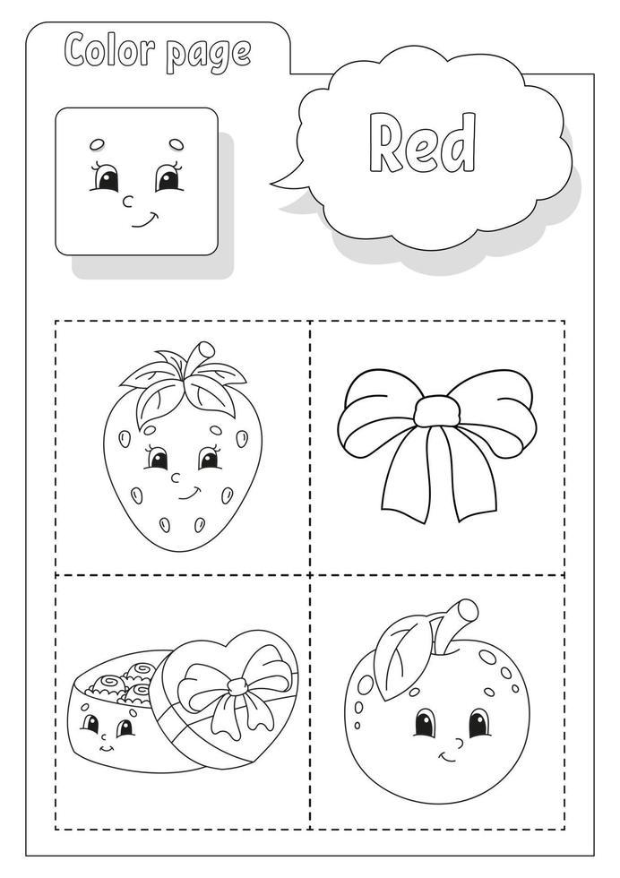 libro da colorare rosso. imparare i colori. flashcard per bambini. personaggi dei cartoni animati. set di immagini per bambini in età prescolare. foglio di lavoro per l'istruzione. illustrazione vettoriale. vettore
