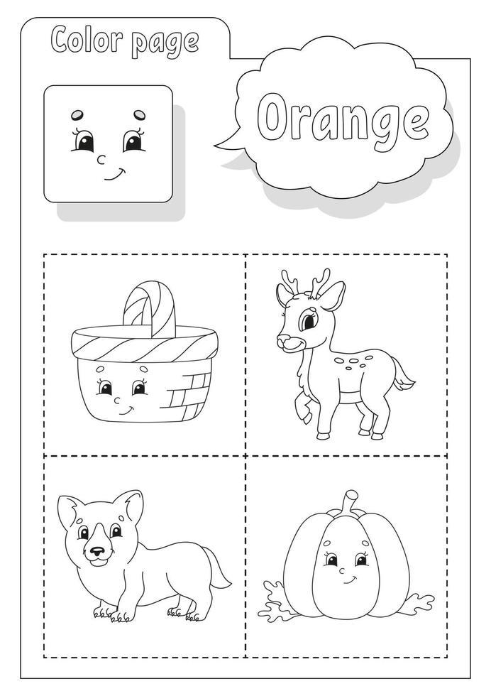 libro da colorare arancione. imparare i colori. flashcard per bambini. personaggi dei cartoni animati. set di immagini per bambini in età prescolare. foglio di lavoro per l'istruzione. illustrazione vettoriale. vettore