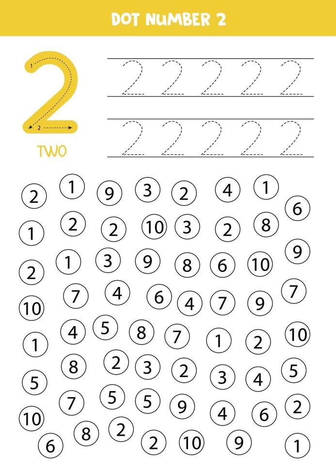 trova e colora il numero 2. gioco di matematica per bambini. vettore