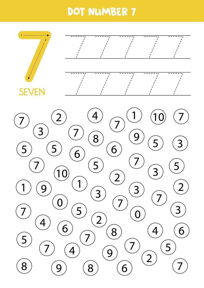 punteggia o colora tutti i numeri 7. gioco educativo. vettore