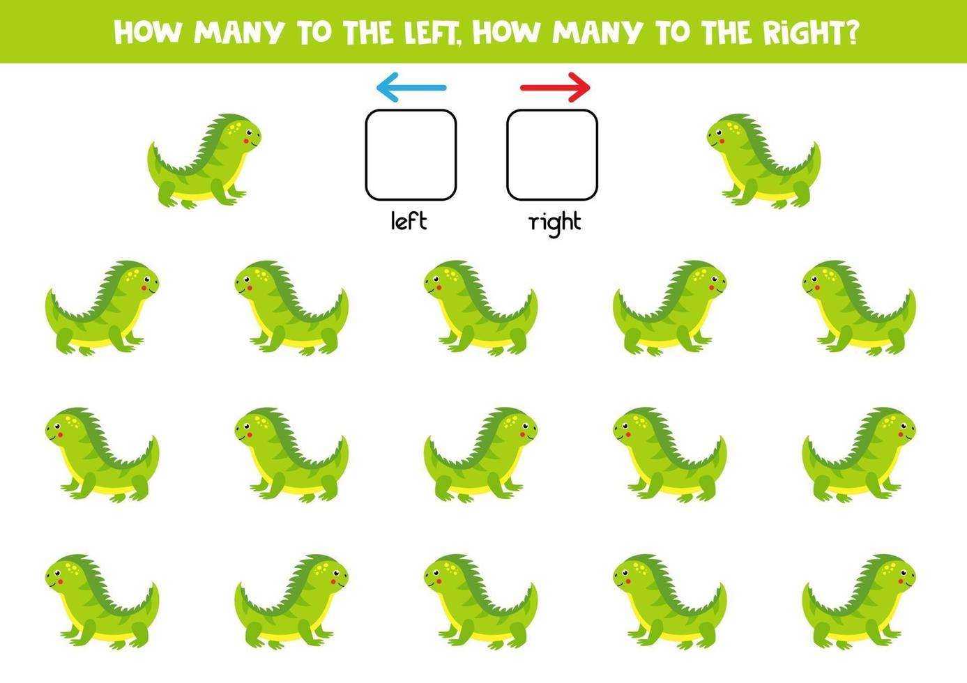 sinistra o destra con iguana. foglio di lavoro logico per bambini in età prescolare. vettore
