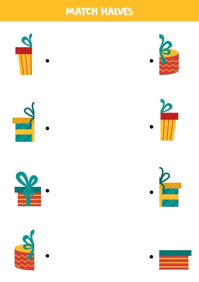 abbina le metà delle scatole regalo di Natale. foglio di lavoro per bambini. vettore