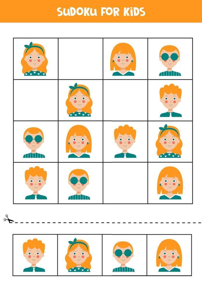 puzzle di sudoku per bambini con ragazzi e ragazze. vettore
