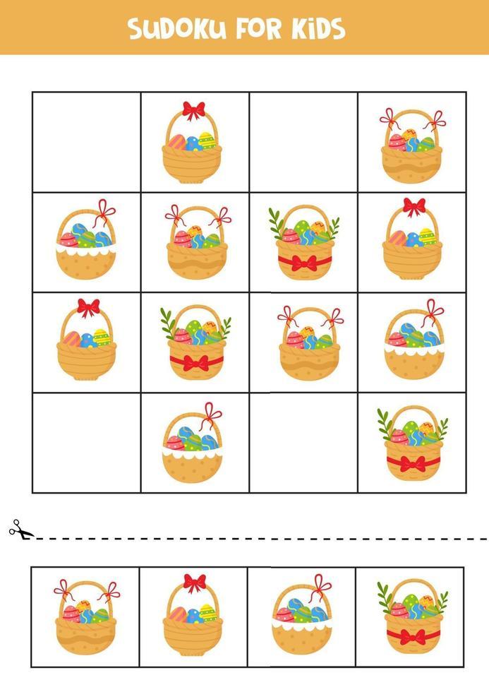 gioco di sudoku. set di cesti di Pasqua con le uova. vettore