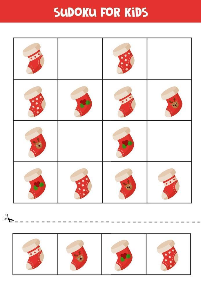 sudoku gioco logico con calzini natalizi dei cartoni animati. vettore