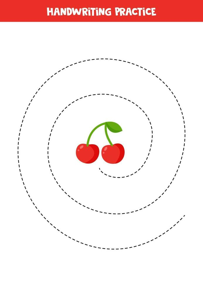 tracciare linee con la ciliegia. pratica di abilità di scrittura per bambini. vettore